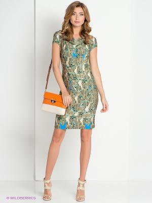 Платье DEVORE. Цвет: зеленый, голубой