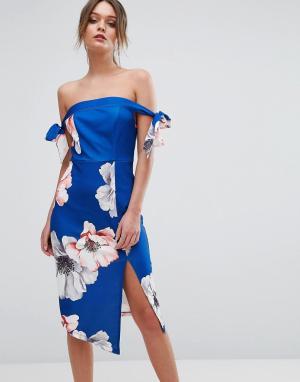 Ginger Fizz Платье миди с открытыми плечами и цветочным принтом. Цвет: мульти