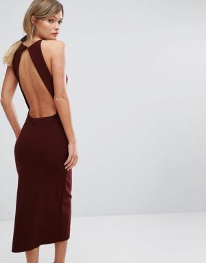 Bec & Bridge Платье миди с открытой спиной Love Ruler. Цвет: красный