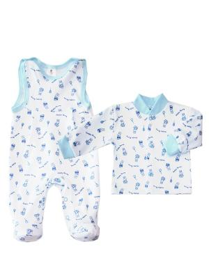 Комплект одежды: кофточка, полукомбинезоны Коллекция Happy Bunny КОТМАРКОТ. Цвет: голубой