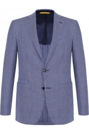 Однобортный пиджак из смеси хлопка и шерсти со льном Canali. Цвет: темно-синий