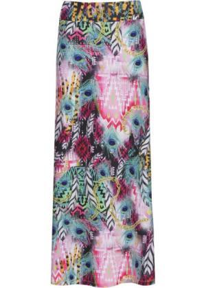 Длинная пляжная юбка (розовый/синий с узором) bonprix. Цвет: розовый/синий с узором