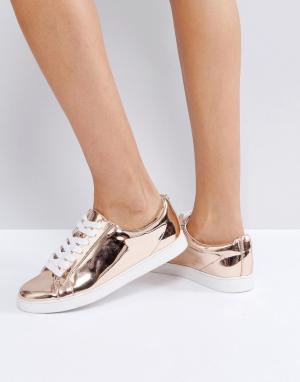Faith Розовато-золотистые кроссовки на шнуровке. Цвет: золотой