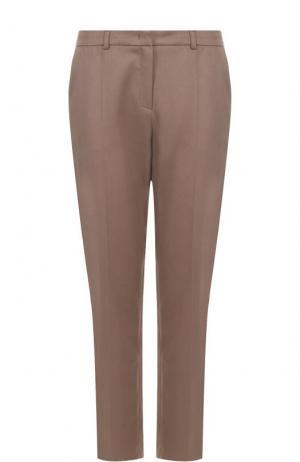 Хлопковые брюки прямого кроя с карманами Escada. Цвет: бежевый