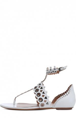 Кожаные сандалии с перфорацией Alaia. Цвет: белый