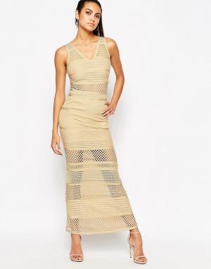 Wow Couture Бандажное платье с сетчатыми вставками. Цвет: бежевый