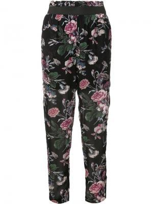 Укороченные брюки с цветочным принтом Ganni. Цвет: синий