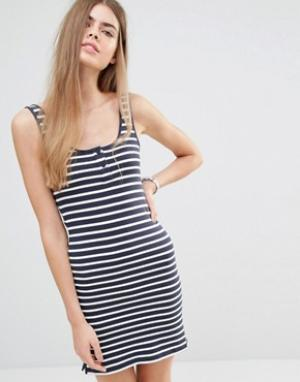 Jack Wills Трикотажное платье‑майка в полоску. Цвет: темно-синий