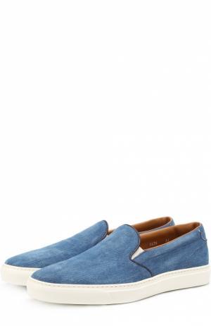 Джинсовые слипоны на контрастной подошве Doucals Doucal's. Цвет: голубой