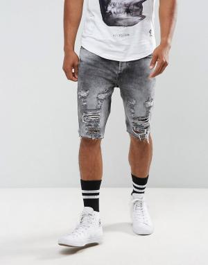 Religion Рваные джинсовые шорты. Цвет: серый