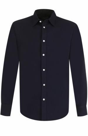 Хлопковая рубашка с воротником кент Rag&Bone. Цвет: темно-синий