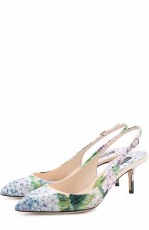 Кожаные туфли Bellucci с цветочным принтом Dolce & Gabbana. Цвет: разноцветный