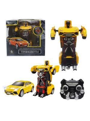 Робот на р/у 2,4GHz, трансформирующийся в легковую машину, жёлтый 1Toy. Цвет: серый