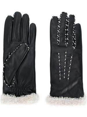Перчатки с контрастными стежками Agnelle. Цвет: чёрный