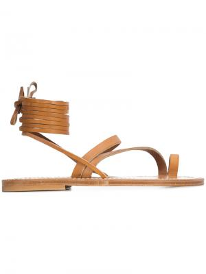 Сандалии со шнуровкой K. Jacques. Цвет: коричневый