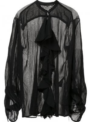 Прозрачная блузка с рюшами Isabel Benenato. Цвет: чёрный