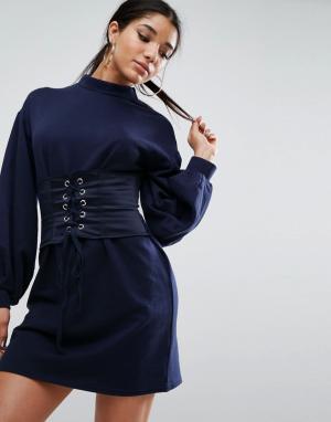ASOS Трикотажное платье с атласным корсетом Premium. Цвет: темно-синий