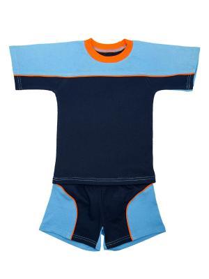 Комплект шорты+футболка МИКИТА. Цвет: синий, голубой