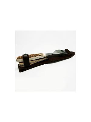 Набор приборов Эстет из рога оленя в кожаном чехле Экспедиция. Цвет: серебристый