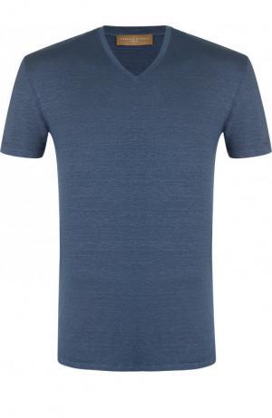Льняная футболка с V-образным вырезом Daniele Fiesoli. Цвет: голубой