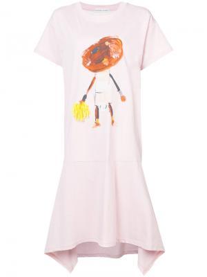 Paint print T-shirt dress Tsumori Chisato. Цвет: розовый и фиолетовый
