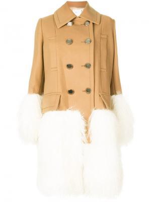 Пальто со вставками Mongolian Sacai. Цвет: телесный