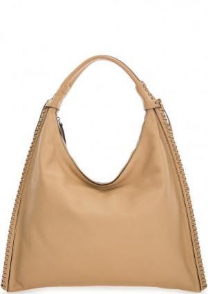 Бежевая сумка из натуральной кожи на молнии Abro. Цвет: бежевый