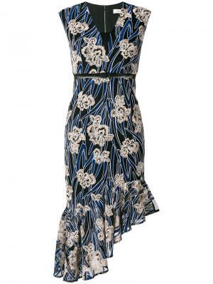 Платье асимметричного кроя Fleur Three Floor. Цвет: синий