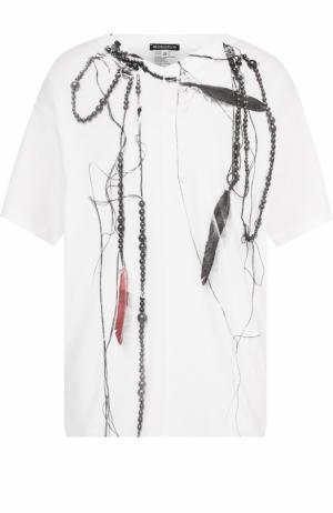 Хлопковая футболка с открытой спиной и принтом Ann Demeulemeester. Цвет: белый