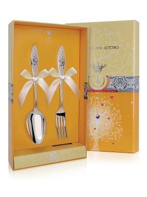 Набор десертный Морозко (ложка+вилка) пр.925 +футляр АргентА. Цвет: серебристый, желтый