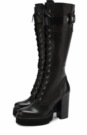 Кожаные сапоги на шнуровке и устойчивом каблуке Vic Matie. Цвет: черный