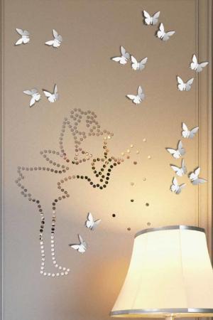 Бабочки, зеркальная мозаика Lumacolor. Цвет: жемчужно-серебряный, хром
