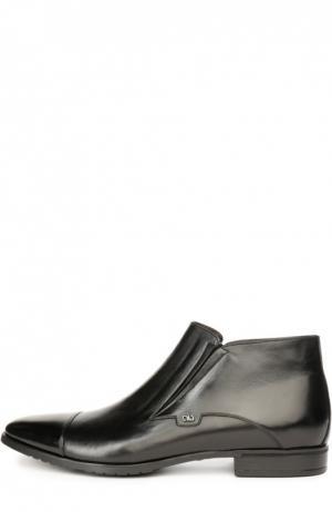 Кожаные полуботинки с текстильной вставкой Aldo Brue. Цвет: черный