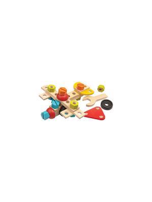 Конструктор PLAN TOYS. Цвет: бежевый, голубой, желтый, красный