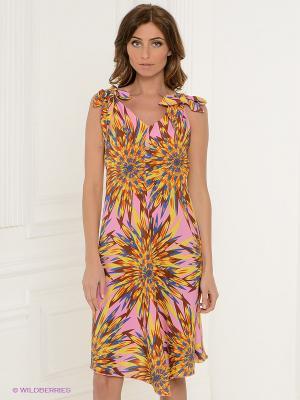 Платье Klimini. Цвет: розовый, желтый, синий
