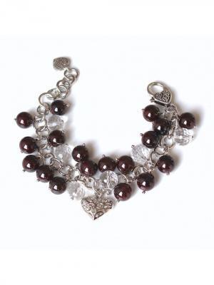 Браслет Be mine Valentine из натурального граната и горного хрусталя Магазин браслетов. Цвет: черный, темно-коричневый, сливовый, темно-бордовый, темно-красный, терракотовый, бордовый, коричневый, серебристый