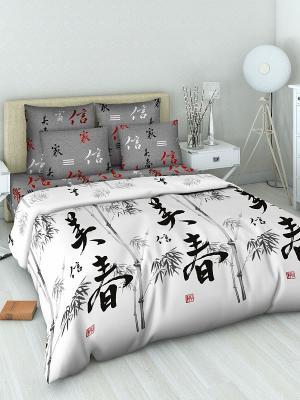 Комплект постельного белья из бязи 2 спальный Василиса. Цвет: белый, серый