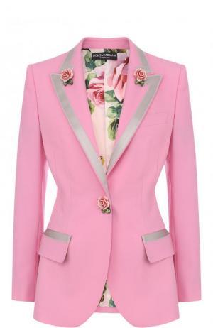 Приталенный шерстяной жакет с декорированными пуговицами Dolce & Gabbana. Цвет: розовый