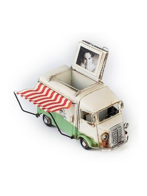 Модель Ретро Автобус белый с зелёным, фоторамкой иподставкой для ручек 4х5см PLATINUM quality. Цвет: белый, зеленый