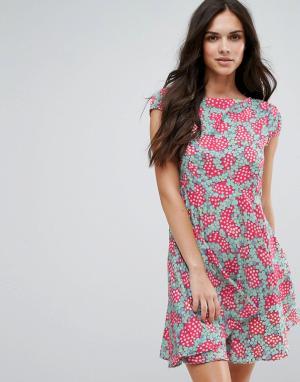 Anmol Приталенное платье со свободной юбкой и принтом. Цвет: розовый