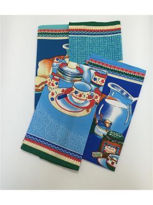 Набор полотенец, 4 шт A and C Collection. Цвет: голубой, красный, синий