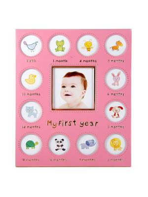 Фоторамка на 13 фото Мой первый год Русские подарки. Цвет: розовый