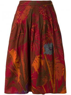 А-образная юбка с лиственным принтом Krizia Vintage. Цвет: красный