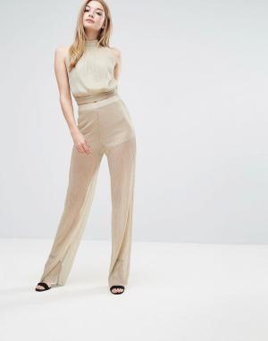 Love Плиссированные брюки. Цвет: золотой