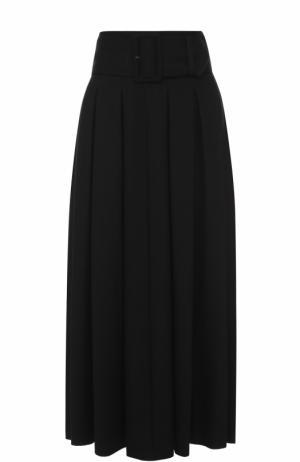Шерстяная юбка в складку с широким поясом Yohji Yamamoto. Цвет: черный