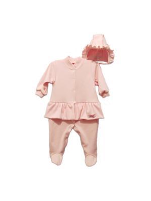 Комплект /комбинезон+шапочка/, отделка юбочка интерлок Агат. Цвет: розовый