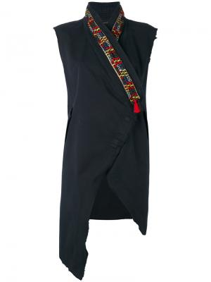 Куртка с запахом без рукавов Bazar Deluxe. Цвет: синий