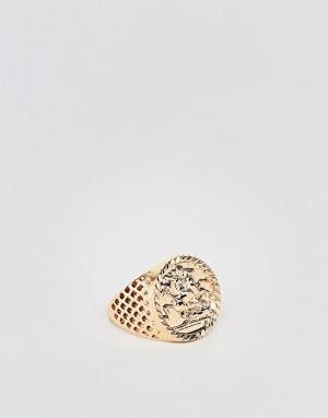 Chained & Able Золотистое кольцо с совереном. Цвет: золотой