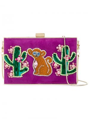 Клатч с заплаткой в виде обезьяны и кактуса Gedebe. Цвет: розовый и фиолетовый