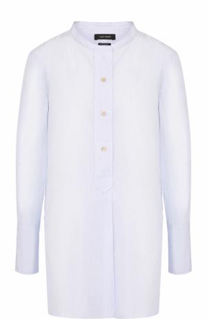 Хлопковая блуза прямого кроя с воротником-стойкой Isabel Marant. Цвет: голубой